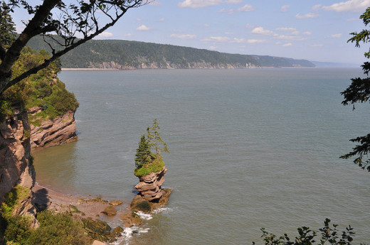 The Fundy Footpath finishes at Fundy National Park which features the Flowerpot Rocks.