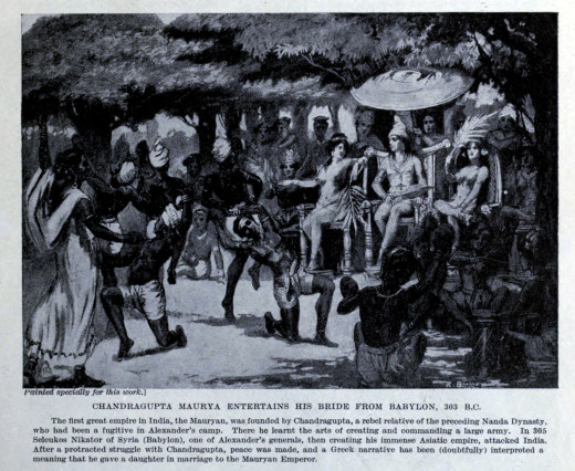 Chandra Gupta Maurya entertains his bride from Babylon