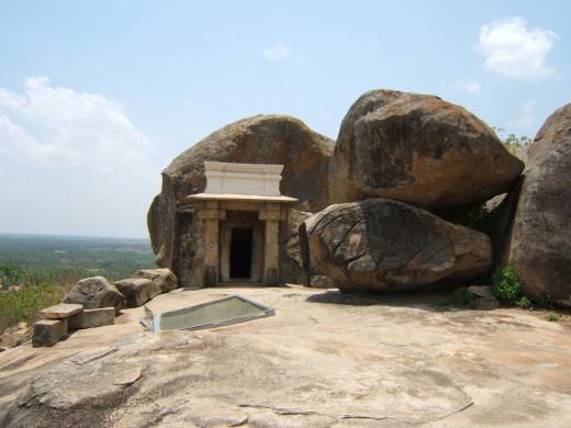 Bhadrabahu Cave, where Chandragupta Maurya is said to have died, at Shravanabelagola, Karnataka, India.