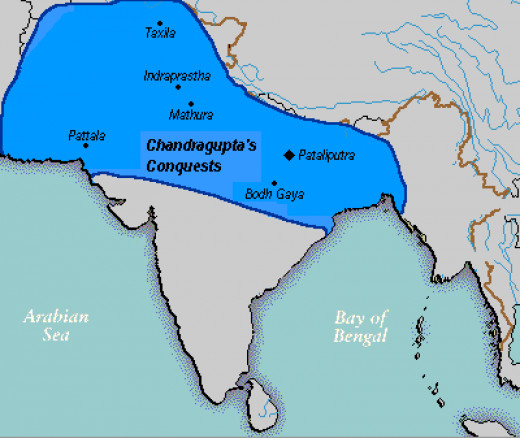 Chandragupta Maurya's empire in 305 BC after his conflict with Seleucus Nicator