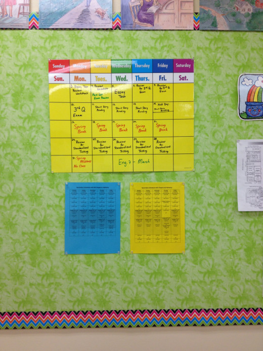 A calendar can be used to post homework assignements, highlight special events, and to help students keep track of daily activity.