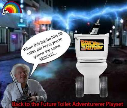 LJN Toys came out with the Toilet Adventurer Playset which you would use in conjunction with their Nintendo game. This made playing Back to the Future on the NES way more exciting.