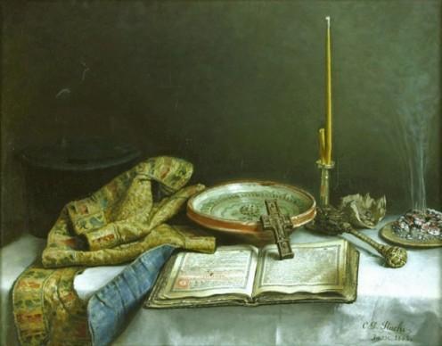 Constantin Dimitrie Stahi - Natură moartă – Apă sfinţită (Holy water) - oil on canvas - 60 x 75 cm - Muzeul Naţional de Artă
