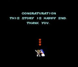 The award winning ending screen to this game. Congraturation! This Story Is Happy End! Hmm. They could have just picked up the phone and dialed any random number into the US and probably gotten an answer telling them how dumb they were. Dumbasses.