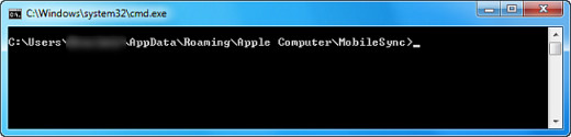 Command Prompt window adjusted to original backup location