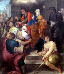 Simon Magus is on the right in black while Peter is on his left.