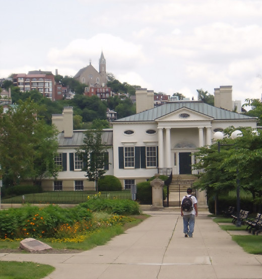 Facing the Taft Museum as I was walking thru Lytle Park. Immaculata Church in the background on top of Mt. Adams  in Cincinnati