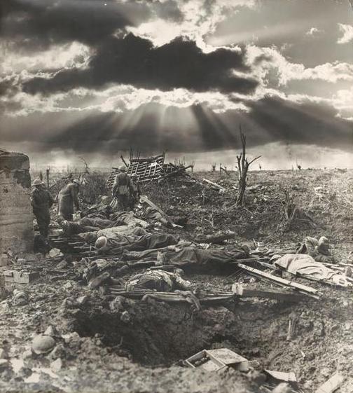 Representative scene of the tragedy at Passchendaele battlefield during World War I.