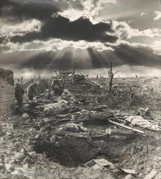 Representative scene of the tragedy at Passchendaele battlefield during World War I.