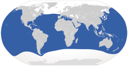 The blue areas represent places where Great White Sharks can be found.