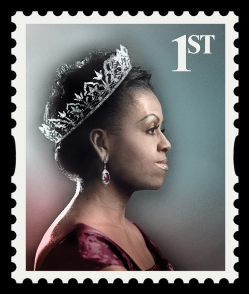 "Michelle Obama as the Queen of Fashion on first class stamp as she is crowned ""Best Dressed in the World"""
