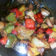 Onions, peppers,  and mushrooms, chopped and sauteed