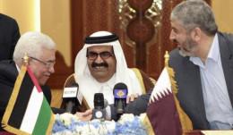 Palestinian President, Qatar King, and Hamas leader