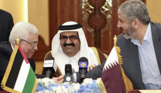 Palestinian President, Qatar King, and Hamas leader