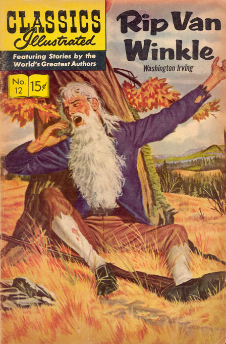 Washington Irving's Rip Van Wrinkle,  published in 1819. A man drinks moonshine with strangers in the Catskill Mountains. He sleeps 20 years past the American Revolution