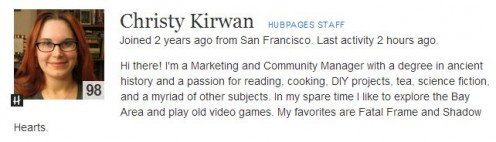Screen Shot of Author Christy Kirwan Also A HubPages Moderator.
