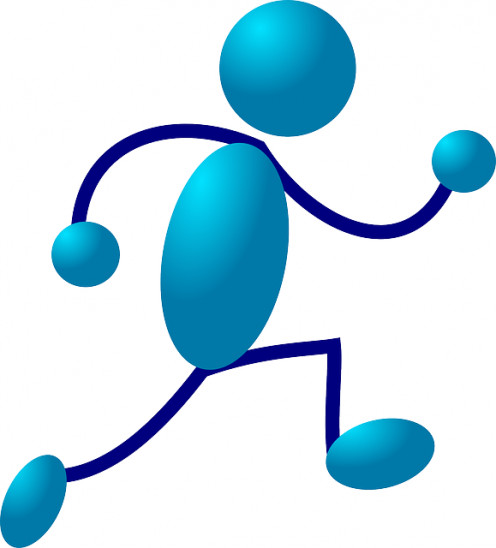 A running stick man cartoon character, exercise can be addictive