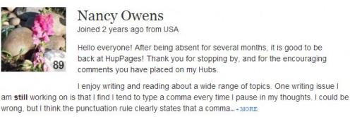 Screen Shot Author Nancy Owens.