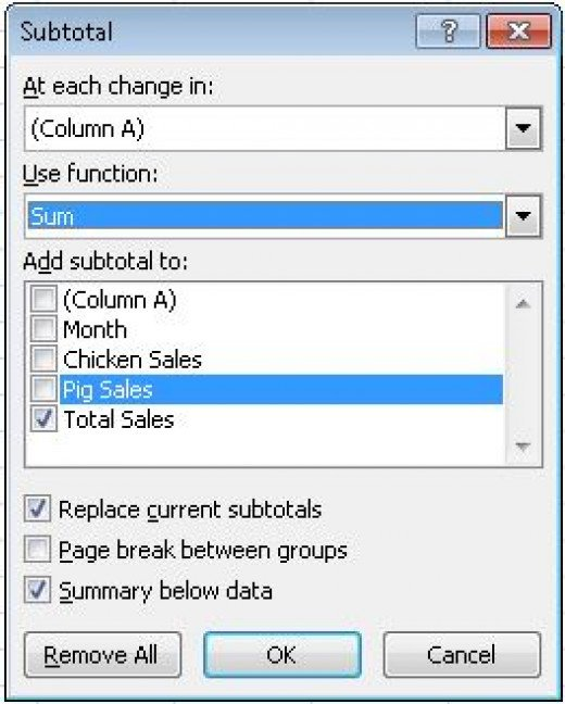The Subtotal button's dialogue box showing the options available in Excel 2007 and Excel 2010.