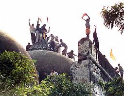 Hindus celebrating the demolition of Babri Mosque