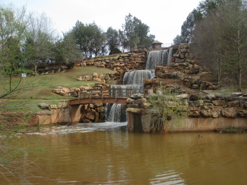 A restored falls area along highway I-44 in North Texas.