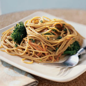 So I have decided to get out my grill and I am going to make a Grilled Broccoli-Sesame Noodles entrée that is the main attraction because there is no meat but it has plenty of flavors.