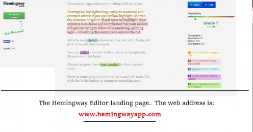 The Hemingway Editor Home Page/Landing Page.