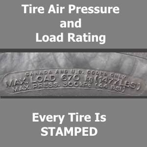All tires are stamped with the pressure and the load rating.