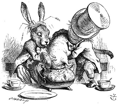 """...the last time she saw them, they were trying to put the Dormouse into the teapot."" Public Domain Image"