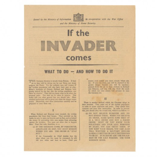 The leaflet preparing civilians for coping with an invasion.