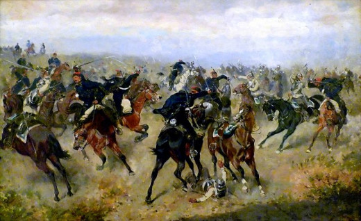 A skirmish between Austrian Hussars (white) and Prussian Cuirassiers (blue) at what turned out to be a decisive battle.