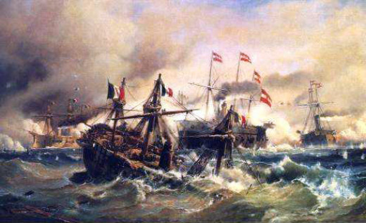 The Battle of Lissa was characterised by the revival of the classic naval tactic of ramming, as shown in this picture here.