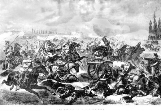 Prussian cavalry under Major General Friedrich von Bredow overrun French artillery at Mars-la-Tour in one of the few successful cavalry charges in modern history. Von Bredow used gun smoke to obscure his attack.