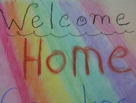 One of a hundred welcome home signs made over the weeks.