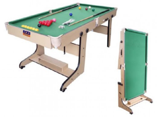 folding leg pool table with wooden legs,  ote vertical design