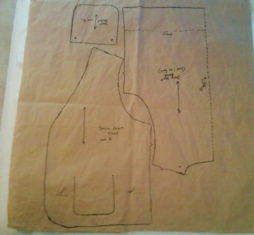 The vest pattern I had traced. The sleeve still needs to be traced and adjusted.