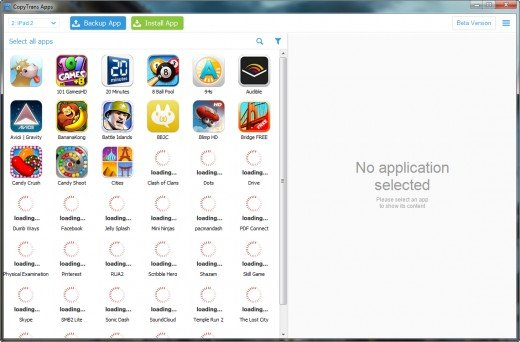 iPad apps loading on PC screen in the free CopyTrans Apps