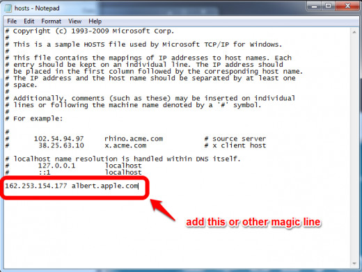 Place a magic line in the hosts file save. Remember to open and save with Administrator rights.