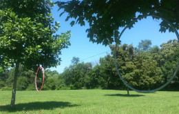 The three hoops tied between two trees.