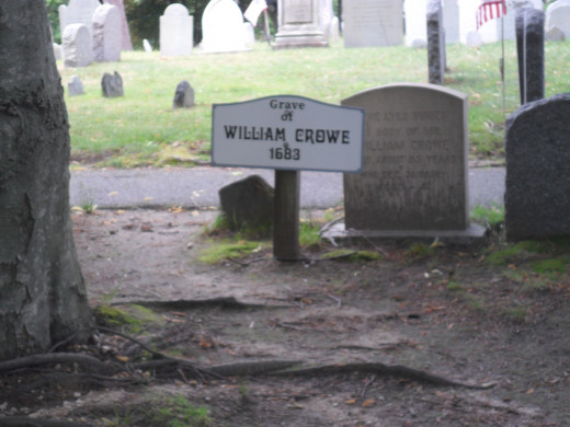 Marker for the burial site of William Crowe The first grave markers were made of wood and did not survive.