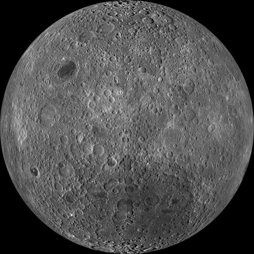 The far side of the moon is almost fully cratered. This is how the whole of the moon would have looked before the maria covered much of the near side surface.
