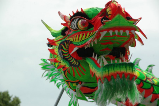 Chinese dragon in a dragon-dance for Chinese New Year 2000