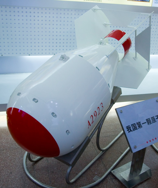 "Chinese nuclear bomb on display at ""Our troops towards the Sky"". Podium says: ""Our first atom bomb."" Notice general similarity in shape to fat man and RDS 1"