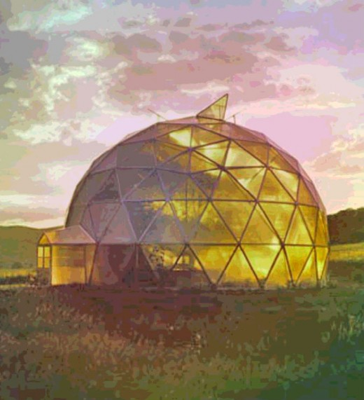 A geodesic dome or polyhedral dome can be approximated by a hemispherical dome or spherical cap dome.