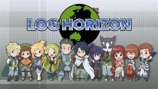 All of the central characters in Log Horizon. From left to right: RundelHaus, Isuzu, Henrietta, Marielle, Naotsugu, Shiroe, Akatsuki, Nyanta, Serara, Minori, and Tohya.