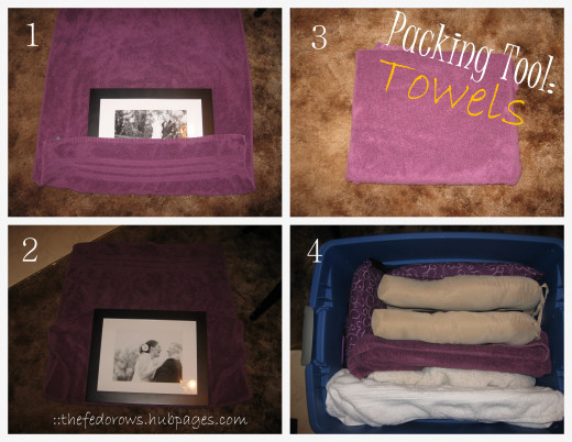 Towels are the best packing tool!  Great for frames and breakable kitchen items.  Place one frame on the end of the towel, fold up.  Then place another frame on top, fold up.  Place upright in tub/box.