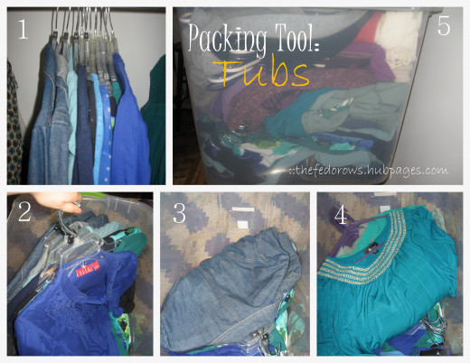 Tubs are perfect for packing clothes!  You'll be amazed at how much you can fit and you can even keep the hangers on which makes unpacking them a breeze.
