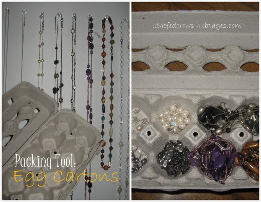 Keep small items organized in egg cartons.  Perfect for necklaces.