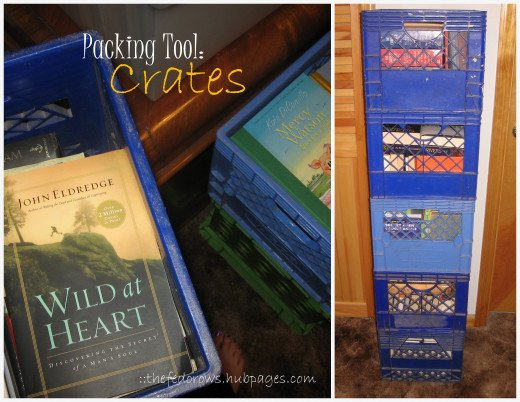 Crates are perfect for moving heavy books and binders. We have covered the top with a piece of rope and plastic wrap to keep the books secure.