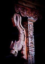 The wood-art on pillars of Hatu Temple near Narkanda at Shimla, Himachal Pradesh.
